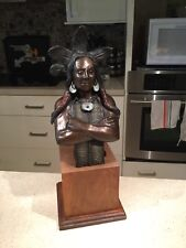 Indian Chief Bronze Sculpture by G. Gillem 1982; limited edition, 4 of 10;
