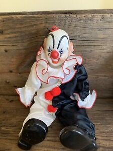 VINTAGE DYNASTY DOLL COLLECTION PORCELAIN CLOWN BLACK WHITE. Pre-owned
