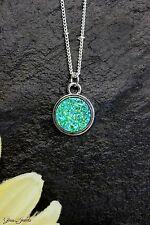 Glass Jewels Silber Kette Anhänger Türkis Harz Druzy Stein Cabochon #MA019