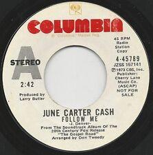 """1973 JUNE CARTER CASH 7"""" 45rpm Follow Me / The Lights Of Magdala WLP Rare"""