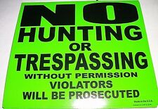 """50 Pack 8""""x7"""" No Hunting or Trespassing Without Permission Violators Signs GREEN"""