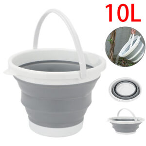 10L Collapsible Folding Bucket Camping Water Carrier Kitchen Plastic Silicone