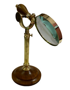 Nautical Brass Handheld Magnifying Glass on Stand Antique Reading Magnifier Lens