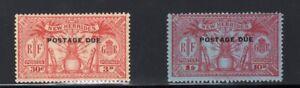 1925 New Hebrides. SC#J3,J5. SG#. Mint, Lightly Hinged, FVF.