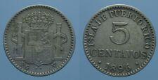 PORTO RICO RARO 5 CENTAVOS 1896 PGV ALFONSO XIII BB