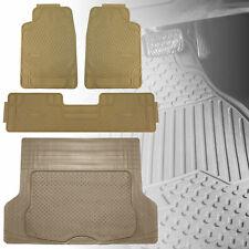 4PC Floor Mats Combo Beige Floor Mats with Beige Cargo Liner Mat