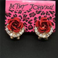 New Betsey Johnson Girl Red Metal Rose Flower Crystal Women Stand Earrings