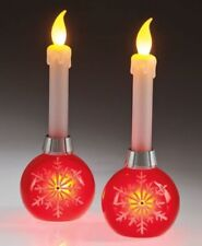 (Set of 2) Bethlehem LED Flickering Holiday Ornament Snowflake Candle Light