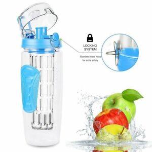Trinkflasche mit Fruchteinsatz, Infuser, Sportflasche Outdoorflasche 1L. Blau