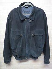 Vtg Stefano Mens Black Leather Suede Jacket Coat Xl Repair Zipper or Repurpose