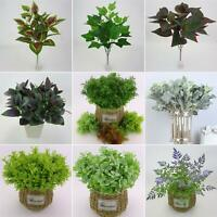 EB_ Artificial Plants Indoor Outdoor Fake Flower Leaf Foliage Bush Home Decor No