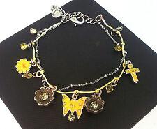 Pilgrim Silver Bracelet Swarovski Crystals Yellow Flowers Enamel Butterflies