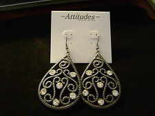WOMENS CZ EARRINGS  GREYISH BLACK