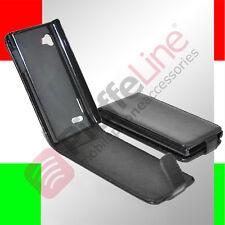 custodia eco PELLE nera LG ELECTRONICS P880 OPTIMUS 4X HD flip case protezione