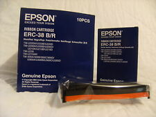 BOX of 10 Genuine Epson ERC-38BR Black & RED Printer Ribbon Cartridges