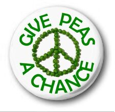 """GIVE PEAS A CHANCE - 25mm 1"""" Button Badge - Cute Novelty"""