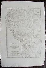 CARTE PEROU ET PAYS CIRCONVOISINS, par BONNE. Carte originale de 1780. dimension