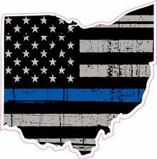 Thin Blue Line Police Ohio US Flag Distressed  Vinyl Sticker Decal 4 inch