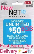 NET10 $50 New 8GB UNLIMITED MONTHLY Refill CARD applied directly TO YOUR PHONE
