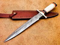 Rody Stan HAND MADE DAMASCUS DAGGER KNIFE - CAMEL BONE - BRASS GUARD - MP-6685