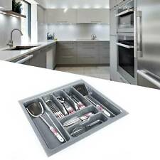 KITCHEN CUTLERY TRAY INSERT GREY TO FIT 30-90cm DRAWER PLASTIC