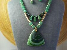 Green Aventurine, Agate, Jasper Handmade Beaded Necklace Set, With Gold Plate.