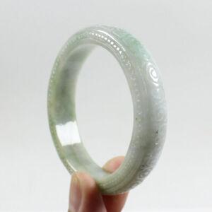 55mm Certified Grade A Natural Green Hand-carved Jadeite Jade Bracelet j3505