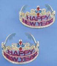 HAPPY NEW YEAR SILVER TIARA Headband Headpiece One Size Girl Child Plastic Crown