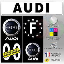 """Stickers Plaque D'immatriculation Fond Noir Logo """"Audi 2"""" 4 pièces 100x45 mm"""