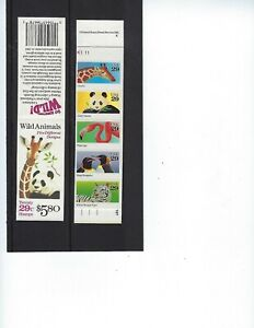 US 1992 SC# BK202 BC83 29c WILD ANIMALS BOOKLET OF 4 PANES OF 5 SC# 2709a MNH