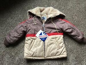 Vintage 80s Hardy Amies Boys Brown Red Tan Zip Up Hooded Fur Lined Coat Sz 4 NWT