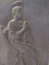 Antique Vintage Bronze Plaque Of A Seated Saint Peter