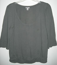 WOMENS OLD NAVY GRAY SCOOP NECK 3/4 SLEEVE SHIRT TOP, SIZE S