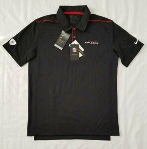 Mens Size Large Black Nike Dry NFL Training Atlanta Falcons Football Polo Shirt
