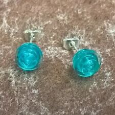 Funky Round Lego Stud Earrings Cool Gift Idea Transparent Aqua