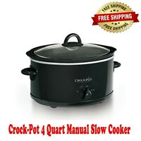 Crock-Pot 4 Quart Manual Slow Cooker, Black, Plastic Handles, Removable