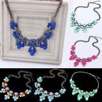 Fashion Charm Chunky Crystal Flower Statement Bib Chain Choker Pendant Necklace