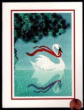 Vintage White Swan Lake Red Ribbon Moonlight Star Christmas Greeting Card Unused