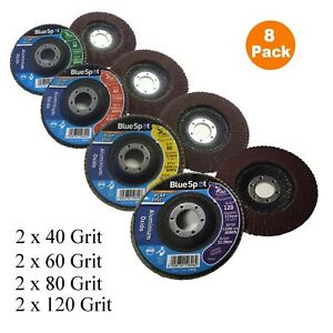 8 x Grit Flap Discs 115mm Mixed Angle Grinder Wheel 40 60 80 120 Sanding 4½ Inch