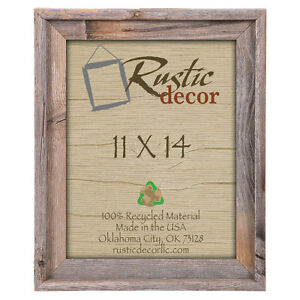 "11x14 - 2"" Wide Signature Reclaimed Rustic Barn Wood Wall Frame"