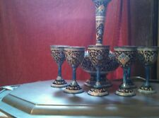 Painted pitcher and 6 cups from india. Vintage
