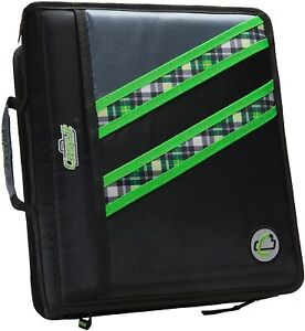 """Case-it Z-Binder Two-in-One Zipper Double Storage Green Plaid Two 1.5"""" D-Ring"""