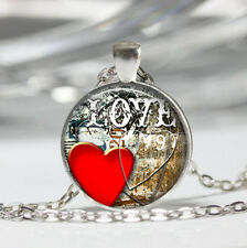 Heart Red Tibet silver Dome Glass Cabochon Necklace chain Pendant #235