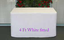 Trestle Table cover Fitted White to fit 4 foot market fair folding stall show U