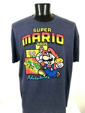 Super Mario Bros T Shirt XXXL SS Blue Super Adventures Men's 3XL Video Game