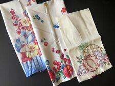 vintage textiles 3 dishtowels fruit & flowers hand embroidery Set