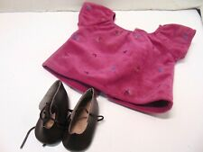 American Girl Brand Purple Maroon Embroidered Shirt With Shoes