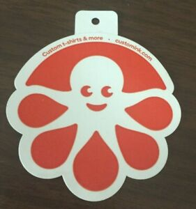 Custom Ink White & Orange STICKER with OCTOPUS Logo FREE GIFT & Free Shipping!