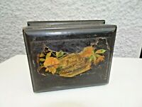 Antique Late 19th C Oak Trinket Box with Image of St Marys Church Market Drayton