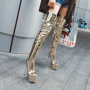 Fashion Women's Over the Knee Boots Stiletto Heels Boots Platform Pointy Toe Zip